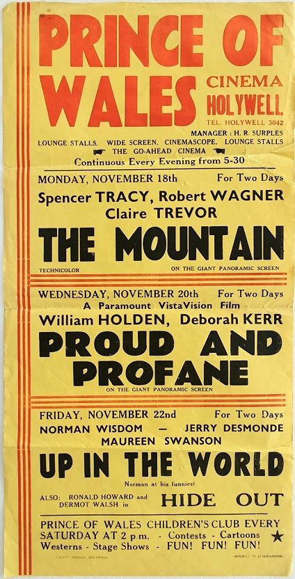 1956 UK Playbill for the Prince of Wales cinema Hollywell with The Mountain with Spencer Tracy, Proud and Profane with William Holden and Up In The World with Norman Wisdom (1)