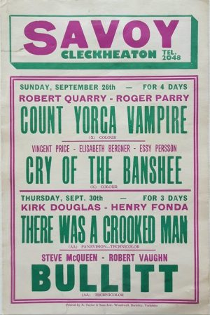 1971 UK cinema window card with Bullitt with Steve McQueen and Robert Vaughn, There Was Crooken Man with Kirk Douglas, Cry Of The Banshee with Vincent Price and Count Yorga the Vampire