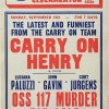 1971 UK Savoy cinema window card with Carry On Henry with Sid James and OSS 117 Murder For Sale with Luciana Paluzzi and John Gavin
