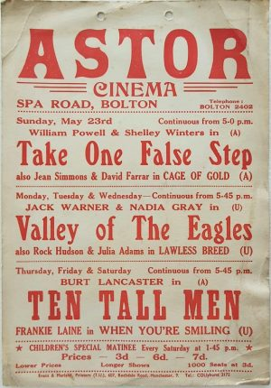 1951 UK Astor cinema window card with Take One False Step with William Powell & Shelley Winters, Valley Of The Eagles with Jack Warner & Nadia Gray, Ten Tall Men with Burt Lancaster, When You're Smiling with Frankie Laine