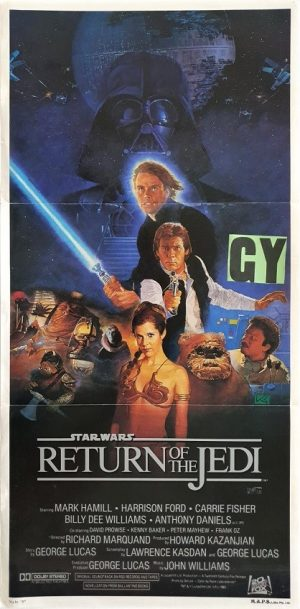 Return of the Jedi Star Wars australian daybill movie poster with a New Zealand used ratings snipe (2)