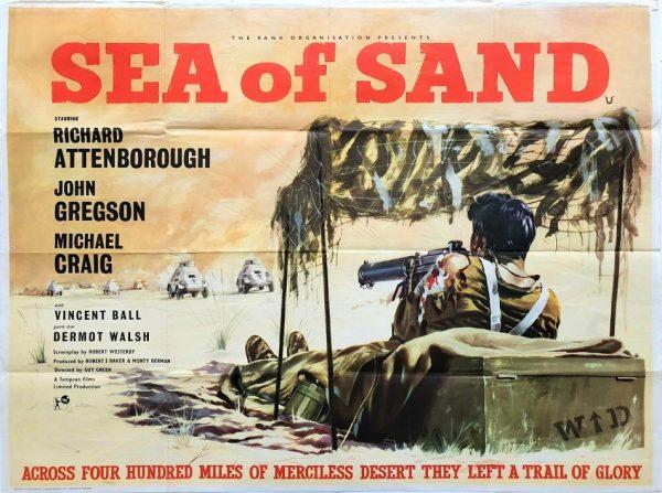 Sea Of Sand Uk Quad Poster with Richard Attenborough and John Gregson LRDG WW2 film 1958
