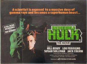 Incredible Hulk UK Quad poster with Bill Bixby and Lou Ferrigno 1977