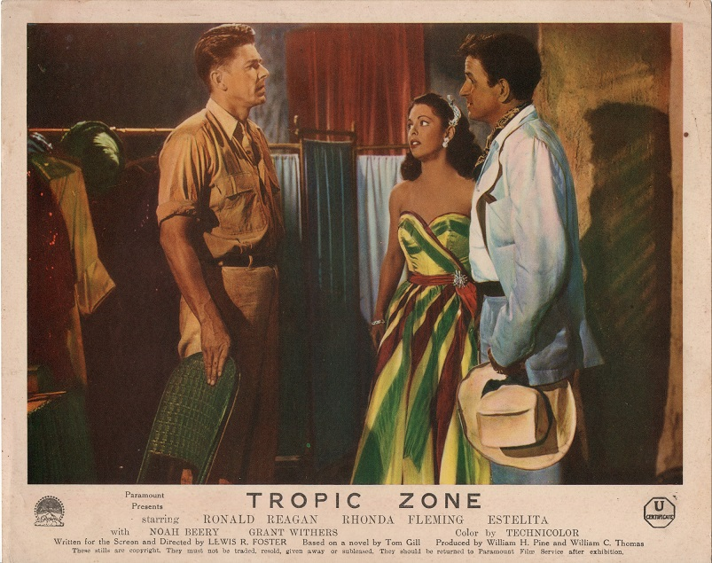 Tropic Zone 1953 UK front of house lobby card with Ronald Reagan and Rhonda Fleming