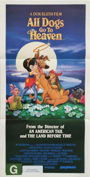 all dogs go to heaven australian daybill movie poster by Don Bluth 1989