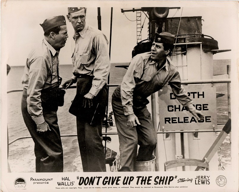 don't give up the ship UK front of house lobby card with Jerry Lewis 1959