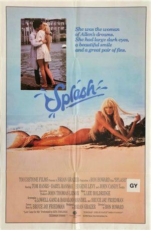 Splash australian one sheet movie poster with Tom Hanks and Daryl Hannah