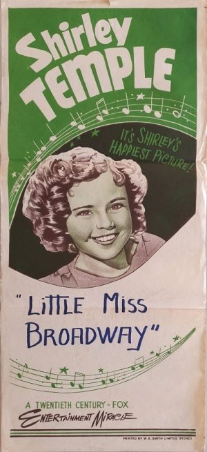 Shirley Temple Australian Stock Daybill Poster with Little Miss Broadway writing