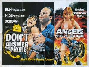 Don't Answer the phone and Angels hard as they come UK Sexploitation Adult Quad Poster with Tom Chantrell art 1980