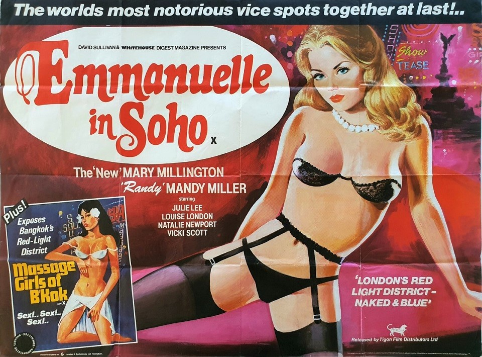 Emmanuelle in Soho and Massage girls of bangkok UK Sexploitation Adult Quad Poster with Mary Millington with Tom Chantrell San Peffer art
