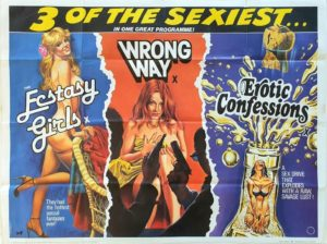 Ecstasy Girls, Wrong Way and Erotic Confessions UK Sexploitation Adult treble bill Quad Poster with Tom Chantrell art (23)