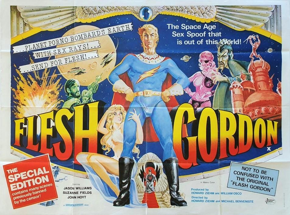 Flesh Gordon UK Sexploitation Adult Quad Poster with Tom Sam Peffer art (3)