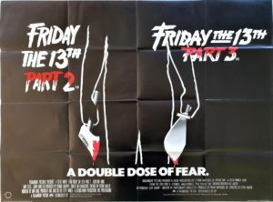 Friday the 13th part 2 and 3 UK Quad Poster