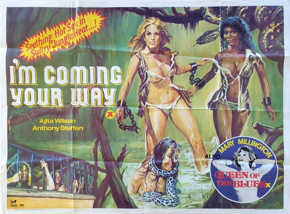 I'm Coming Your Way and Queen of the blues UK Sexploitation Adult Quad Poster with Mary Millington by Tom Chantrell (2)