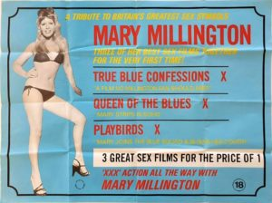 Mary Millington True Blue Confessions, Queen of the Blues and Playbirds UK Sexploitation Adult Quad Poster (2)