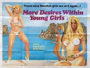 More Desires with young girls UK Sexploitation Adult Quad Poster with Tom Chantrell or Sam Peffer art