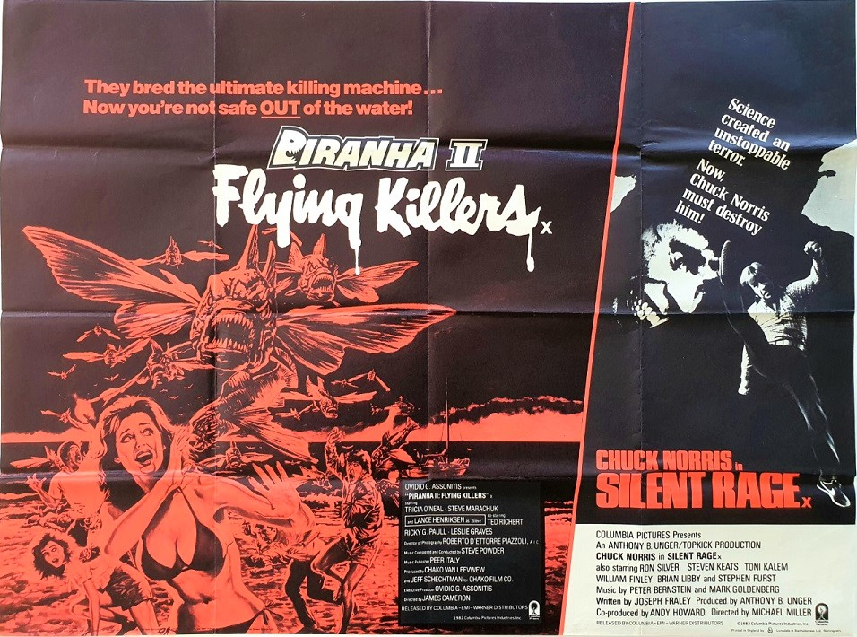 Piranha 2 and Silent Rage UK Quad Poster with Chuck Norris (4)