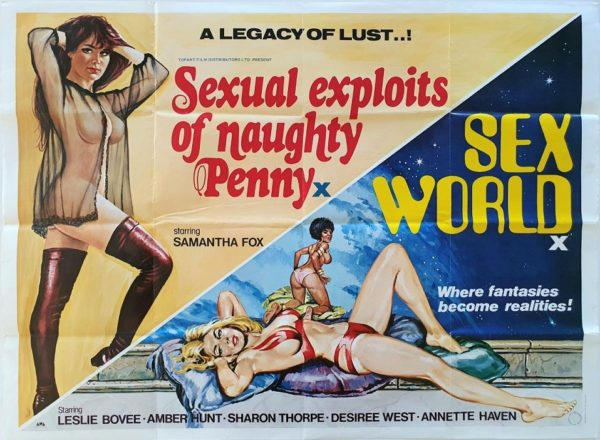 Sexual Exploits of Penny Naughty and Sex World UK Sexploitation Adult Quad Poster by Sam Peffer (2)
