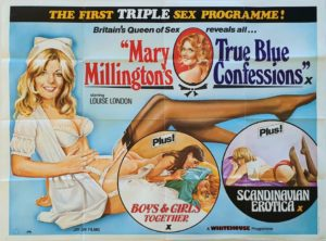 True Blue Confessions UK Sexploitation Adult Quad Poster with Mary Millington with Tom Chantrell art