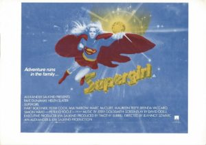 Supergirl 1984 UK Window Card