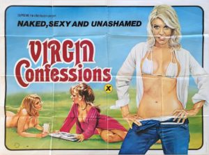 Virgin Confessions UK Sexploitation Adult Quad Poster by Tom Chantrell or Sam Peffer(