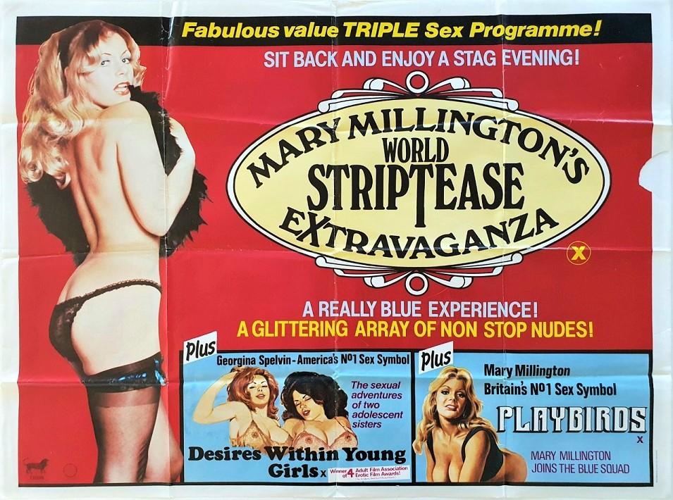 Mary Millington's World Striptease Extravaganza and Playbirds UK Sexploitation Adult Quad Poster 1981