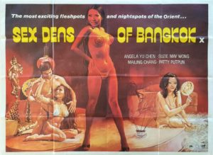 Sex Dens of Bangkok UK Sexploitation Adult Quad Poster with Sam Peffer artwork