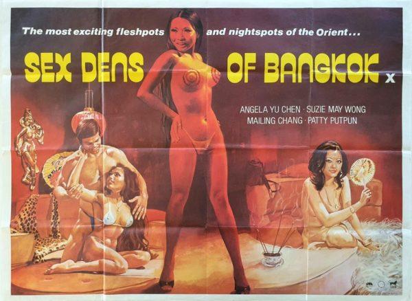 Sex Dens of Bangkok UK Sexploitation Adult Quad Poster with Sam Peffer artwork
