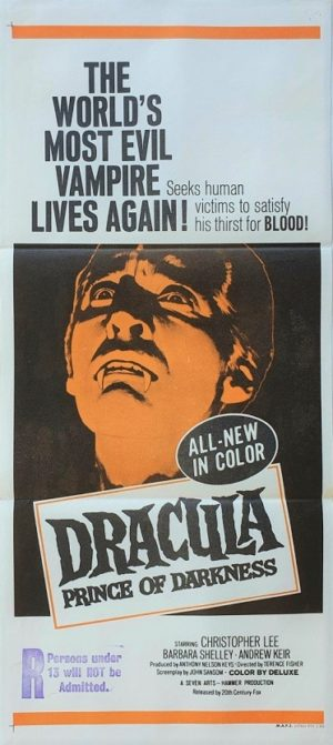 Dracula prince of darkness australian daybill poster with Christopher Lee (6)