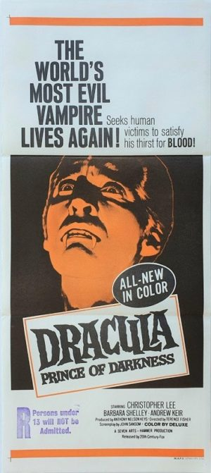 Dracula prince of darkness australian daybill poster with Christopher Lee