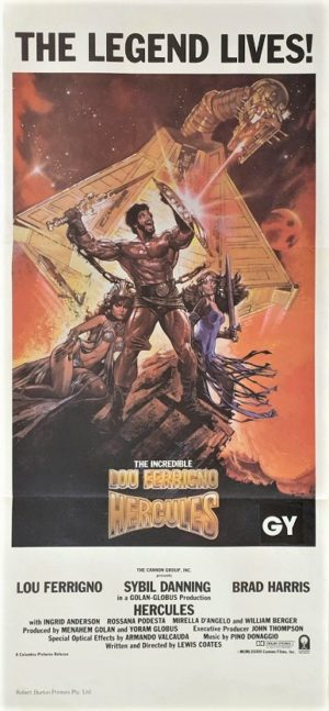 Hercules Australian Daybill poster with Lou Ferrigno and art by Drew Struzan