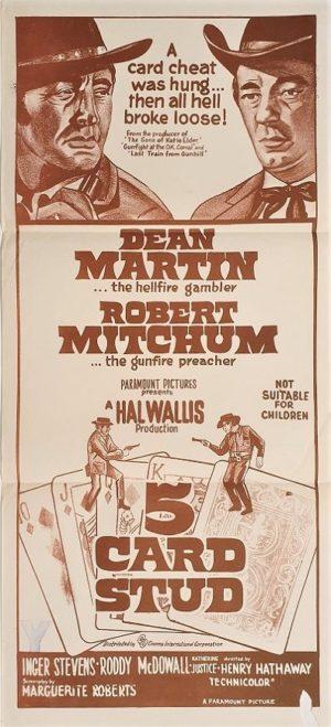 5 Card Stud Australian Daybill Poster with Dean Martin and Robert Mitchum western gambling theme