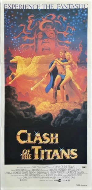 Clash of the titans australian daybill poster artwork by Greg & Tim Hildebrandt