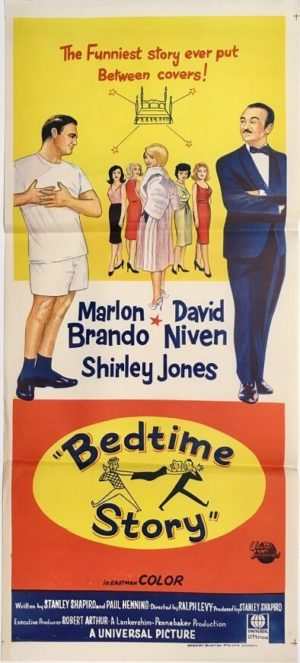 Bedtime story Australian Daybill Poster with David Niven and Marlon Brando
