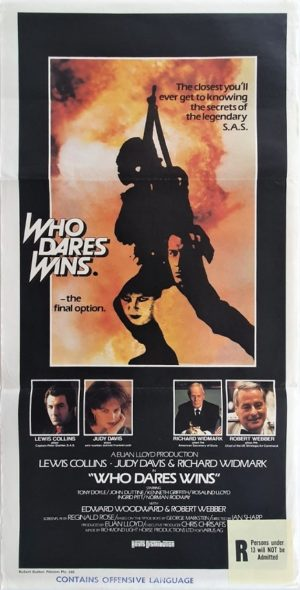 Who Dare Wins Australian Daybill Poster with Lewis Collins