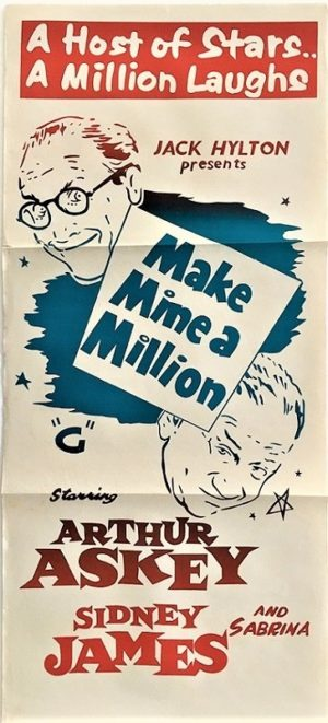 Make mine a million rerelease daybill poster with Sid James