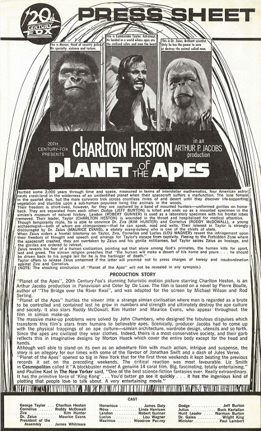 The Planet Of The Apes Press Sheet (4)