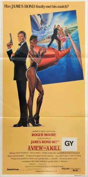 A View To A Kill Australian daybill poster 007 James Bond with Roger Moore and Grace Jones