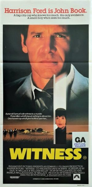 Witness Australian daybill poster with Harrison Ford