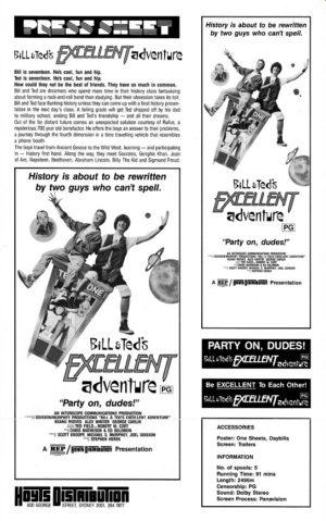Bill & Ted's Excellent Adventure Australian Press Sheet (2)
