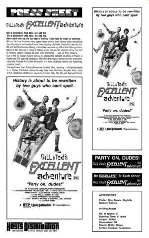 Bill & Ted's Excellent Adventure Australian Press Sheet (2)