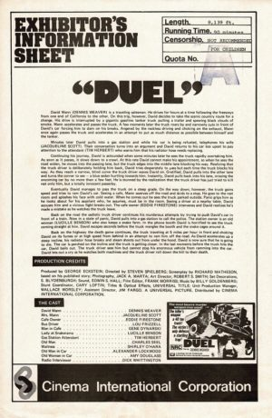 Duel Press Sheet Directed By Steven Spielberg