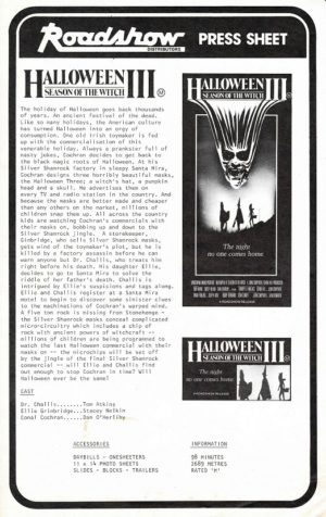 Halloween 3 Season Of The Witch Australian Press Sheet