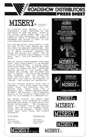Misery Australian Press Sheet by Stephen King