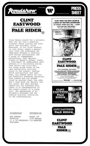 Pale Rider Australian Press Sheet with Clint Eastwood