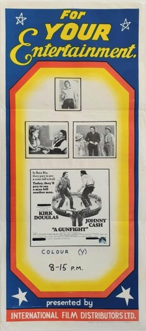 A Gunfight Australian daybill movie poster stock style 1971 with Kirk Douglas and Johnny Cash