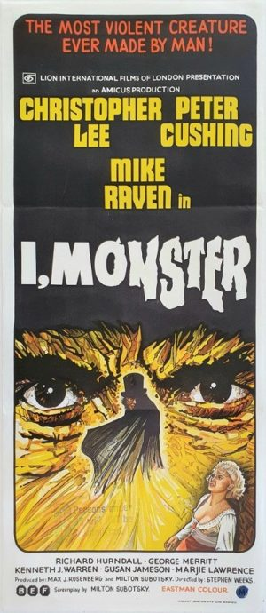 I Monster Australian daybill movie poster with Christopher Lee and Peter Cushing (20)