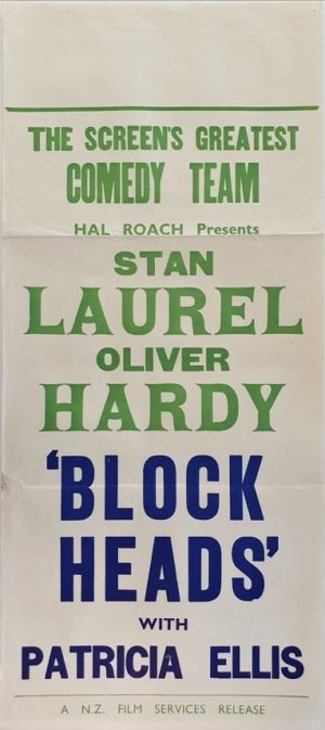 Laurel and Hardy Block Heads New Zealand stock daybill movie poster (6)