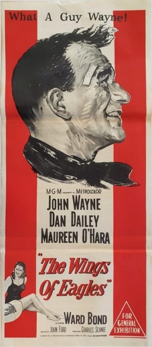 The Wings of Eagles Australian daybill movie poster with John Wayne and Maureen O'Hara (8)