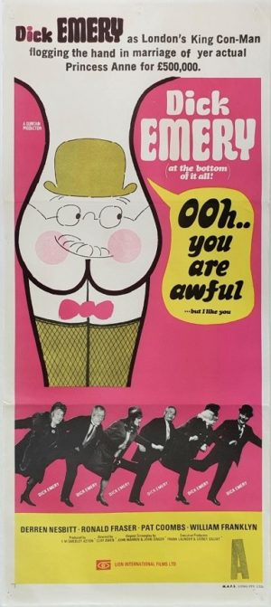 ooh you are awful Australian daybill movie poster with Dick Emery (2)